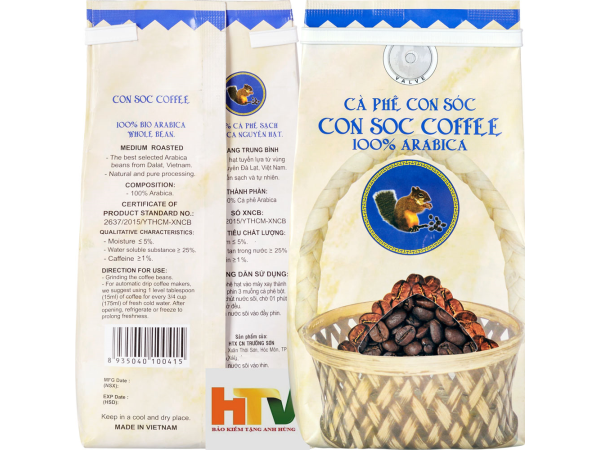 Cà phê con sóc hạt Arabica 200gram
